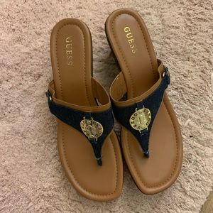 Guess Navy Blue & Tan Thong Sandals Size 12